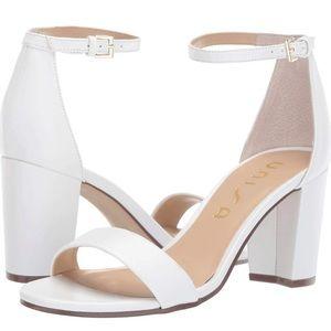 Unisa DSW Daeisy White Sandal Block Heels WORN 1x